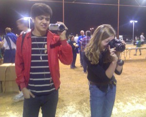 Lauren Gunter, my daughter and freelance photographer, and Guillermo Jimenez, intern, taken at Lights of Love 2010