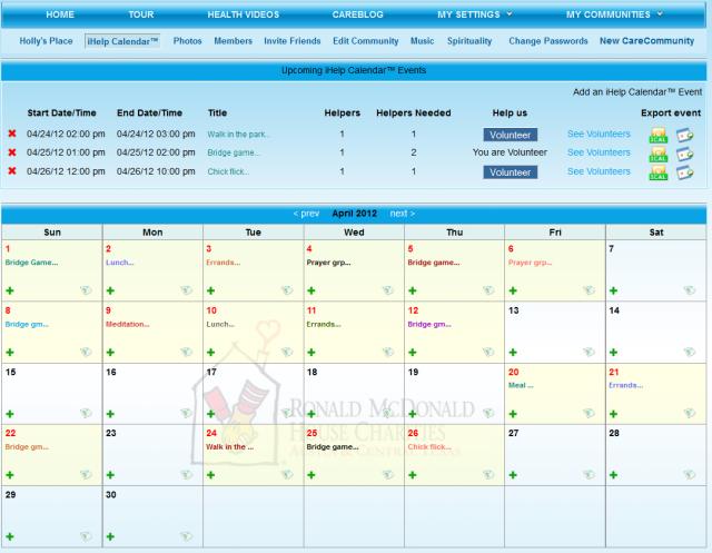 Sample Care Calendar in a Care Community