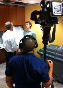 Derrick being interviewed
