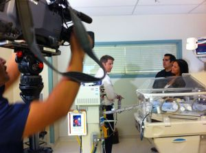 Robert Maxwell of KXAN interviewing the Mauricio Family in the NICU at St. David's Medical Center