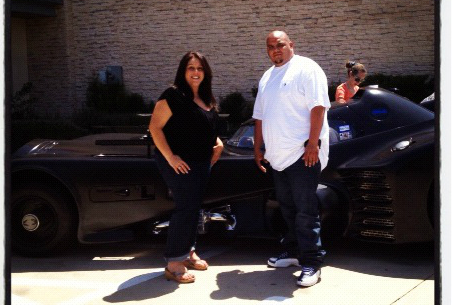 House Managers Lisa Mazziotti and Pete Rodriguez with Batmobile