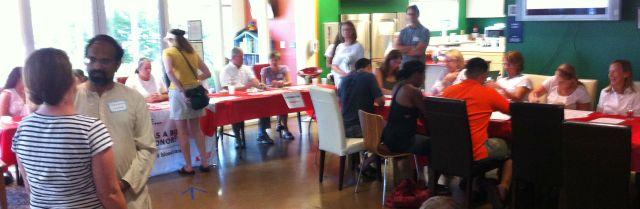 Volunteers register bone marrow donors at the Ronald McDonald House