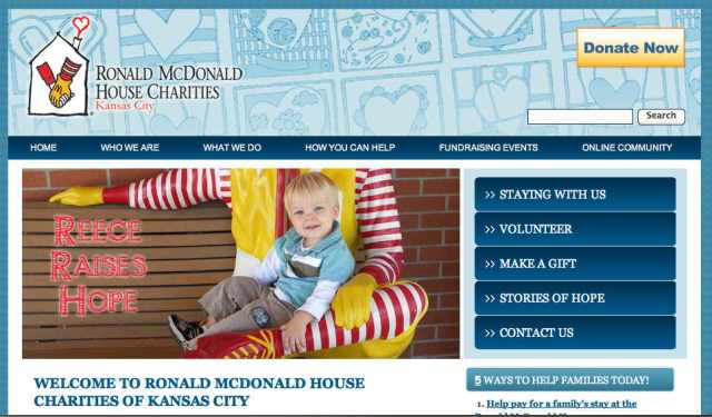 RMHC KC home page screenshot