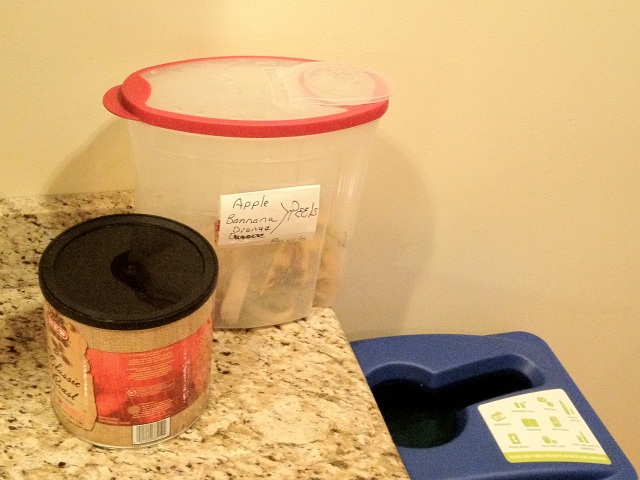 Recycling container for fruit peels