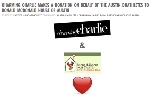 Charming Charlies donates to Ronald McDonald House Charities