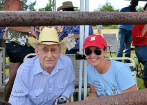 "Here I am with Rooster's dad, ""Cowboy""."
