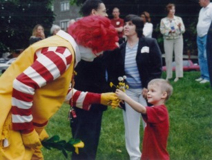 My son, Brandon, with Ronald, 2004