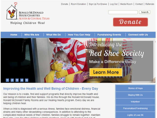 New RMHC Austin Website Homepage