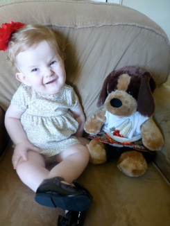 Ingrid and her bear.