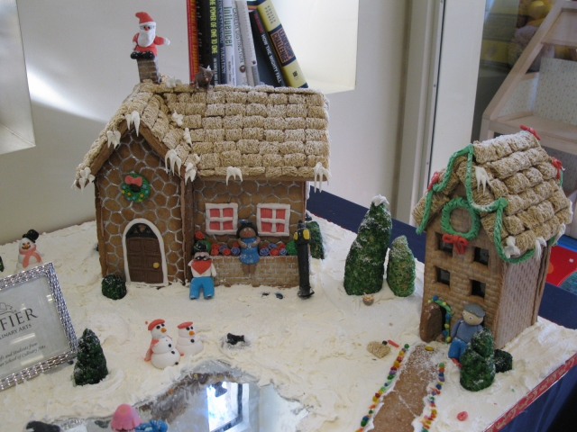 "Part of the gingerbread village the Escoffier School brought us this year. Imagine how BUSY this ""little"" project kept them!"