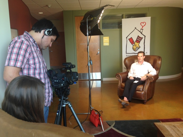 Patrick Ley, President of Friends of the House, being interviewed for our donor spotlight video.